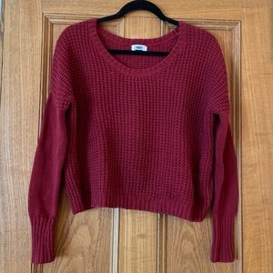 Red Cropped Knit Sweater